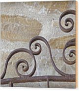 Colonial Wrought Iron Gate Detail Wood Print