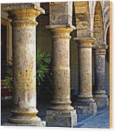 Colonnades Wood Print by Mexicolors Art Photography