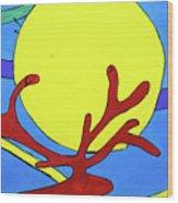 Color Animal Moon Street Art Wood Print