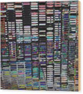 Color Grid - Gold Line Wood Print
