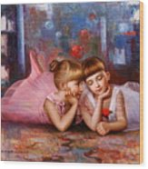 Color Of Melody -two Young Ballerina Wood Print