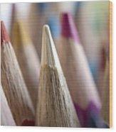 Color Pencils Close-up Wood Print
