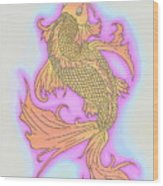 Color Sketch Koi Fish Wood Print