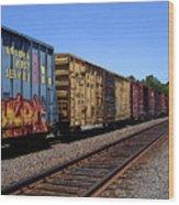 Color Train Wood Print