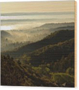 Colorado And Manitou Springs Valley In Fog Wood Print