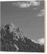 Colorado Buffalo Rock With Waxing Crescent Moon In Bw Wood Print