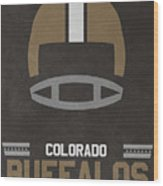 Colorado Buffalos Vintage Football Art Wood Print