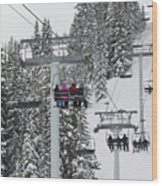 Colorado Chair Lift During Winter Wood Print by Brendan Reals