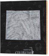 Colorado Map Music Notes 2 Wood Print