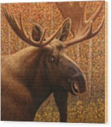 Colorado Moose Wood Print by James W Johnson