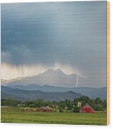 Colorado Rocky Mountain Red Barn Country Storm Wood Print