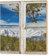 Colorado Rocky Mountain Rustic Window View Wood Print