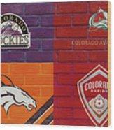 Colorado Sports Teams On Brick Wood Print