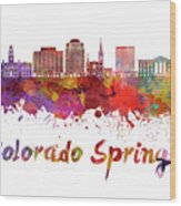 Colorado Springs V2 Skyline In Watercolor Wood Print