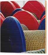 Colored Boat Ropes Wood Print