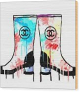 Colored Chanel Boots Wood Print