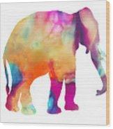 Colored Elephant Painting Wood Print