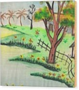 Colored Landscape Wood Print