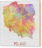 Colored Map Of Poland Wood Print