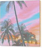 Colored Palms Wood Print
