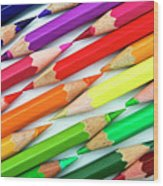 Colored Pencil Tips Wood Print by Image by Catherine MacBride