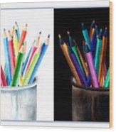 Colored Pencils - The Positive And The Negative Wood Print