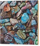 Colored Polished Stones Wood Print
