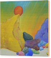 Colored Rocks In Sand Wood Print