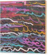 Colored Waves Wood Print