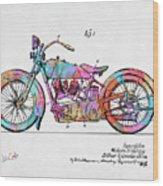 Colorful 1928 Harley Motorcycle Patent Artwork Wood Print