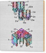 Colorful 1961 Lego Brick Patent Minimal Wood Print