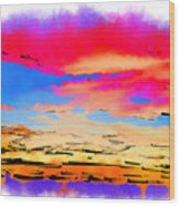 Colorful Abstract Sunset Wood Print