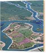 Colorful Aerial Of Commercial Farmland In Stockton - Medford Island - San Joaquin County, California Wood Print