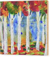 Colorful Aspen Trees View Wood Print