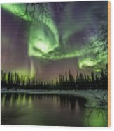 Colorful Auroras Wood Print