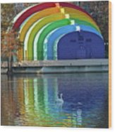 Colorful Bandshell And Swan Wood Print