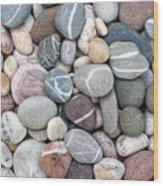 Colorful Beach Pebbles Wood Print