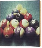 Colorful Billiard Balls Wood Print