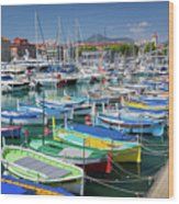 Colorful Boats Docked In Nice Marina, France Wood Print