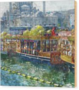 Colorful Boats In Istanbul Turkey Wood Print
