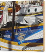 Colorful Boats Wood Print