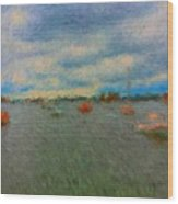 Colorful Boats On Cloudy Day At Boothbay Harbor Wood Print