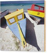 Colorful Boats On  Eagle Beach  Aruba Wood Print by George Oze