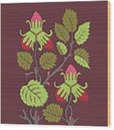 Colorful Botanical Hand Drawn Strawberry Bush Isolated On Vinous Wood Print