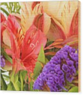 Colorful Bouquet Of Flowers Wood Print
