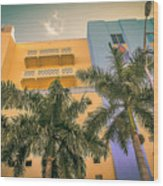 Colorful Building And Palm Trees Wood Print