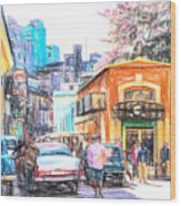 Colorful Buildings And Old Cars In Havana - V3 Wood Print