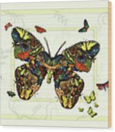 Colorful Butterfly Collage Wood Print