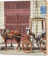 Colorful Cabs Of Malta Wood Print