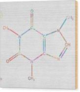 Colorful Caffeine Molecular Structure Wood Print